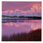 Mt. Denali at sunset from Reflection Pond Large Square Tile