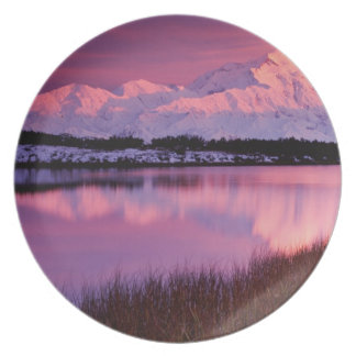Mt. Denali at sunset from Reflection Pond Melamine Plate