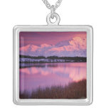 Mt. Denali at sunset from Reflection Pond Custom Necklace