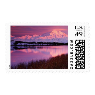 Mt. Denali at sunset from Reflection Pond Postage Stamp