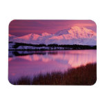 Mt. Denali at sunset from Reflection Pond Rectangle Magnets