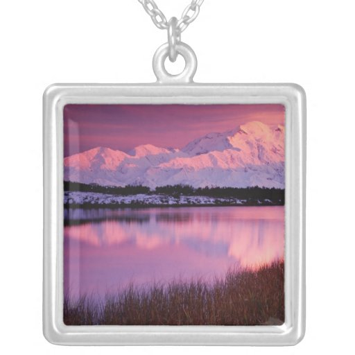 Mt. Denali at sunset from Reflection Pond Square Pendant Necklace