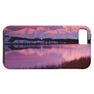 Mt Denali en la puesta del sol de la charca de la iPhone 5 Case-Mate Cárcasas
