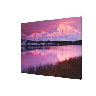Mt. Denali en la puesta del sol de la charca de la Impresiones En Lona