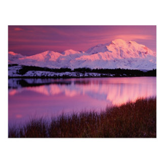 Mt. Denali en la puesta del sol de la charca de la Postal