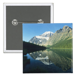 Mt Edith Cavell in Cavell Lake, Jasper National Button