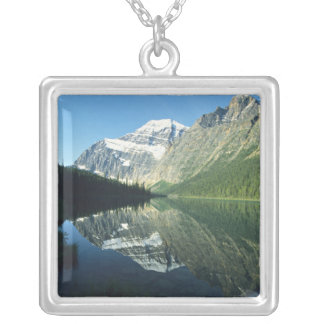 Mt Edith Cavell in Cavell Lake, Jasper National Silver Plated Necklace