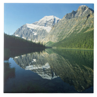 Mt Edith Cavell in Cavell Lake, Jasper National Tile
