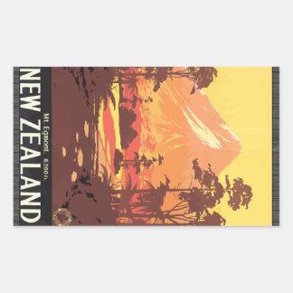 Mt. Egmont. 8,260 Ft. New Zealand, Vintage Rectangle Stickers