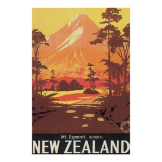 Mt. Egmont New Zealand Vintage Travel Poster