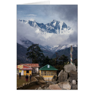 Mt Everest Peak from Tengboche Himalayan Village Card