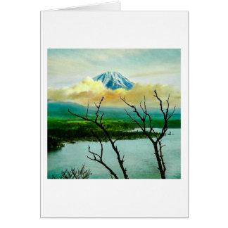Mt. Fuji 富士山 Through the Pines Vintage Japanese Card