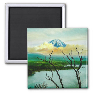 Mt. Fuji 富士山 Through the Pines Vintage Japanese Magnet