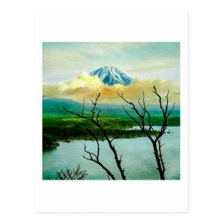 Mt. Fuji 富士山 Through the Pines Vintage Japanese Postcard