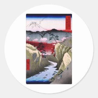 Mt. Fuji and Birds in Japan circa 1800s Classic Round Sticker