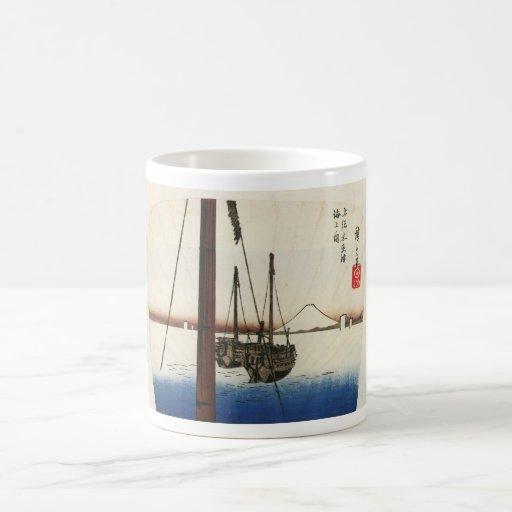 Mt. Fuji and Boats. Japan. Circa 1800's Coffee Mugs