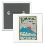 Mt. Fuji And Sun Vintage Japanese Silk Label Button