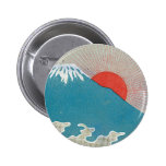 Mt. Fuji And Sun Vintage Japanese Silk Label Pinback Button