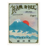 Mt. Fuji And Sun Vintage Japanese Silk Label Post Card