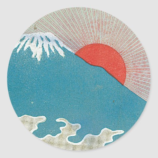 Mt. Fuji And Sun Vintage Japanese Silk Label Sticker