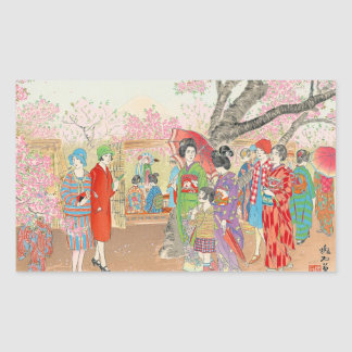 Mt Fuji and the Cherry Blossoms on Asuka Hill art Rectangle Stickers
