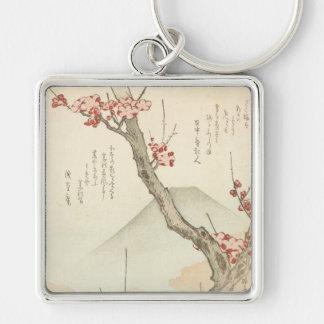 Mt. Fuji Behind a Blossoming Plum Tree Key Chain