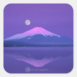 Mt. Fuji Below Moon Square Sticker
