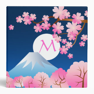 Mt Fuji Cherry Blossoms Spring Japan Night Sakura Binder