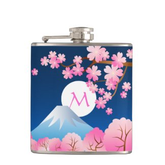 Mt Fuji Cherry Blossoms Spring Japan Night Sakura Hip Flask