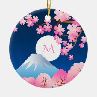 Mt Fuji Cherry Blossoms Spring Japan Night Sakura Ornament