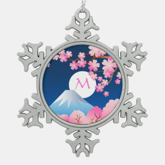 Mt Fuji Cherry Blossoms Spring Japan Night Sakura Ornaments