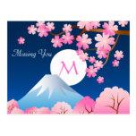 Mt Fuji Cherry Blossoms Spring Japan Night Sakura Postcards