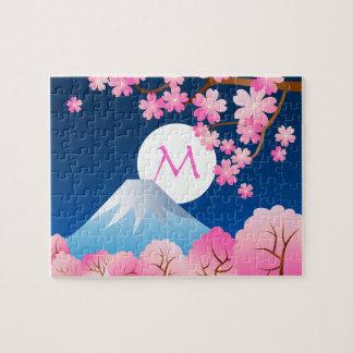 Mt Fuji Cherry Blossoms Spring Japan Night Sakura Jigsaw Puzzle