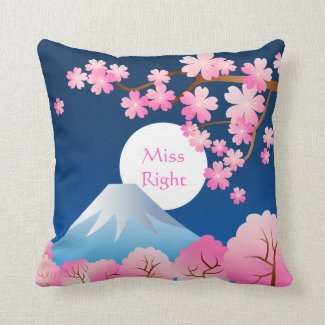 Mt Fuji Cherry Blossoms Spring Japan Night Sakura Throw Pillow