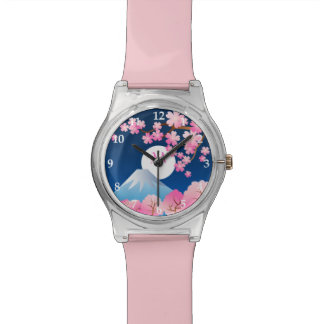 Mt Fuji Cherry Blossoms Spring Japan Night Sakura Wristwatch