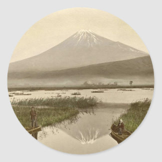 Mt Fuji from Kashiwabara Vintage Photograph Classic Round Sticker