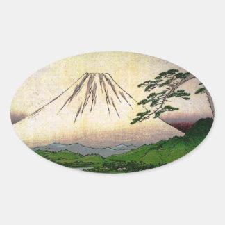 Mt. Fuji in Japan circa 1800's Oval Sticker