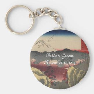 Mt. Fuji Japanese Vintage Art Wedding Invitation Keychain