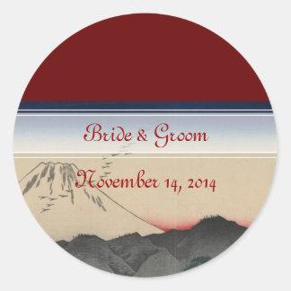 Mt. Fuji Japanese Vintage Art Wedding Invitation Round Sticker