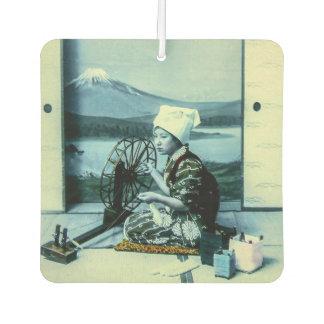 Mt. Fuji on a Silk Screen Behind Spinning Geisha Air Freshener