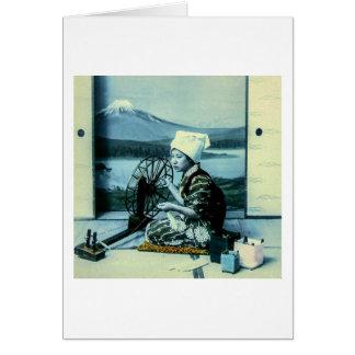 Mt. Fuji on a Silk Screen Behind Spinning Geisha Card
