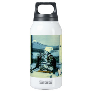 Mt. Fuji on a Silk Screen Behind Spinning Geisha Insulated Water Bottle