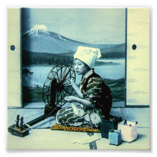 Mt. Fuji on a Silk Screen Behind Spinning Geisha Photo Print
