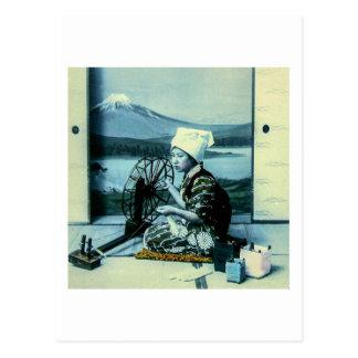 Mt. Fuji on a Silk Screen Behind Spinning Geisha Postcard