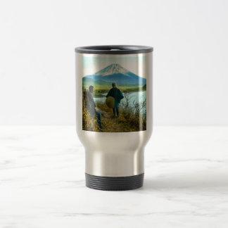 Mt. Fuji Pilgrims Resting by Roadside Vintage Travel Mug