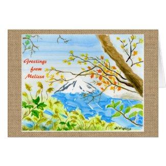 Mt Fuji Plein Air Watercolor Autumn Mountain Fall Cards