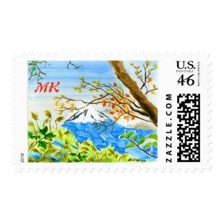 Mt Fuji Plein Air Watercolor Autumn Mountain Fall Postage Stamp