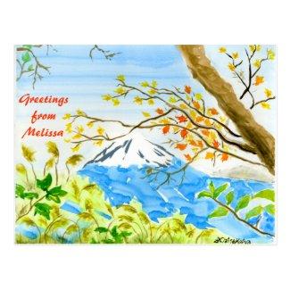 Mt Fuji Plein Air Watercolor Autumn Mountain Fall Post Cards