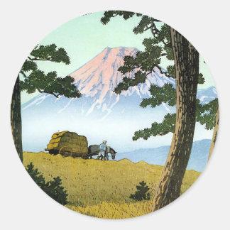 Mt. Fuji seen from Tagonoura. Hasui Kawase Classic Round Sticker