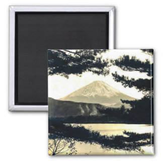 Mt. Fuji Through the Pines Vintage 富士山  Japanese Magnet